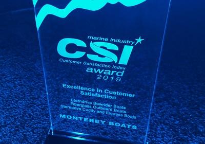 Monterey Boats NMMA Customer Satisfaction Award Winner!