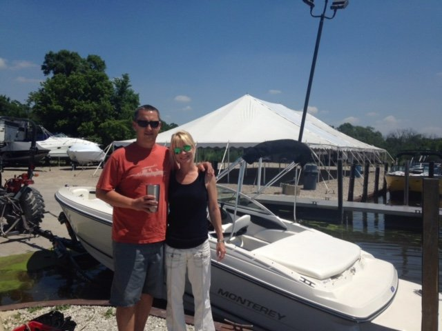 Mr and Mrs Starkey taking delivery of their Monterey 184FS in all White, This boat is Stunning!