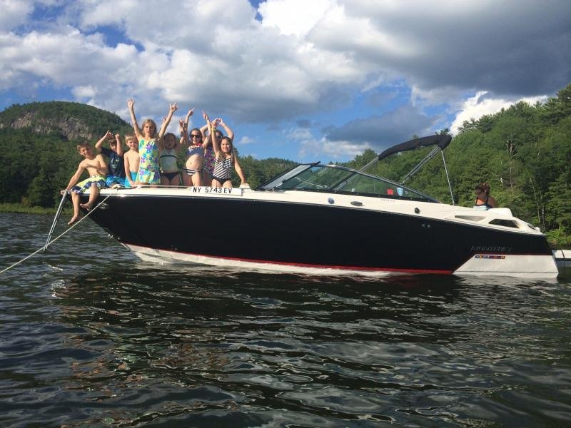 """A happy family on their new 268SS on Lake George, NY!"""