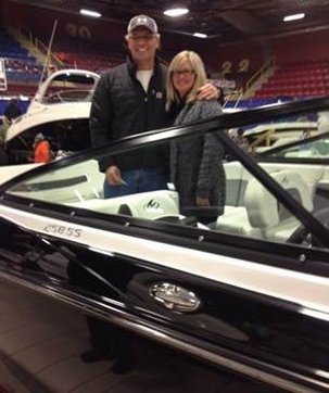 John and Brenda are a happy couple with their new Monterey 258SS from Quartermaster Marine in Halifax!