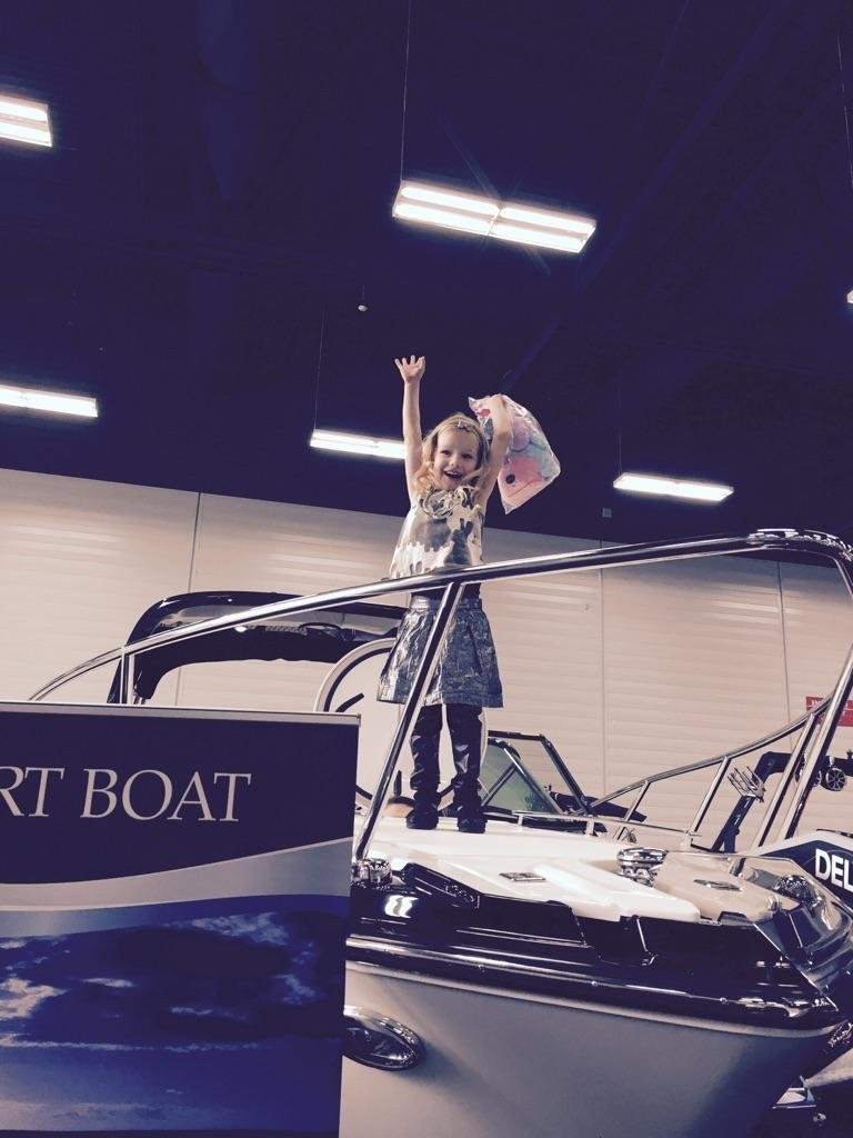 Shelby loves her new Monterey 268SC! Wizard Lake Marine- Edmonton Boat Show