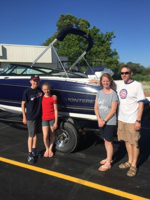 The Warner family taking delivery of their new 2017 Monterey 204FS in beautiful Sapphire Blue